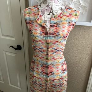 CAbi long button down tank in size Large. EUC